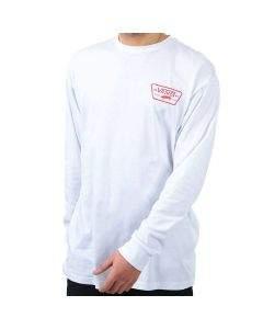 Vans T-shirt da Uomo Manica Lunga Full Patch Back Bianca
